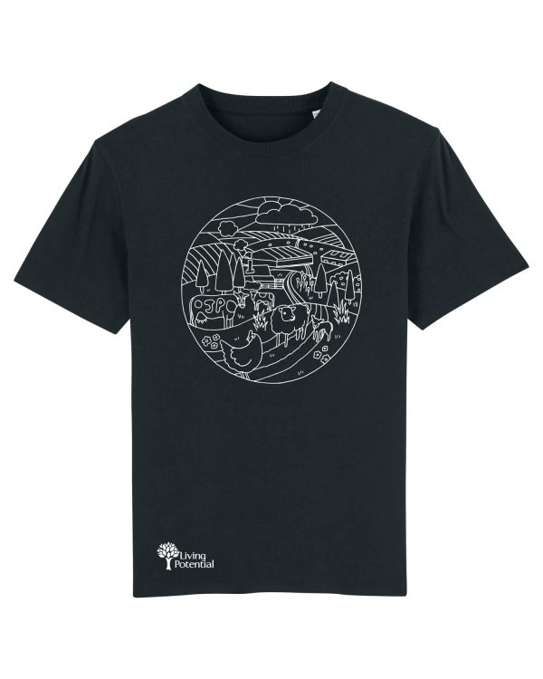 Black t-shirt with large circular design