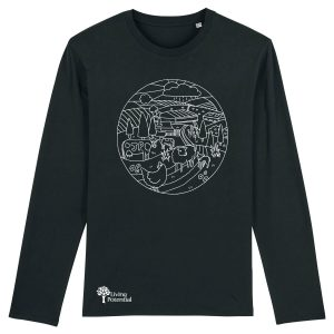 Black long sleeved t-shirt with large circular design