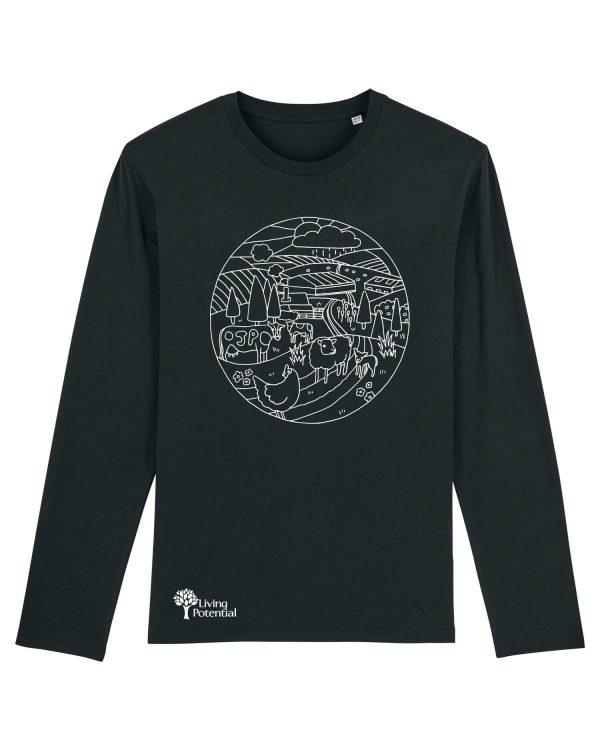 Black long sleeved t-shirt with large circular design