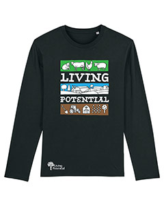 Black long sleeved t-shirt with large Living Potential text